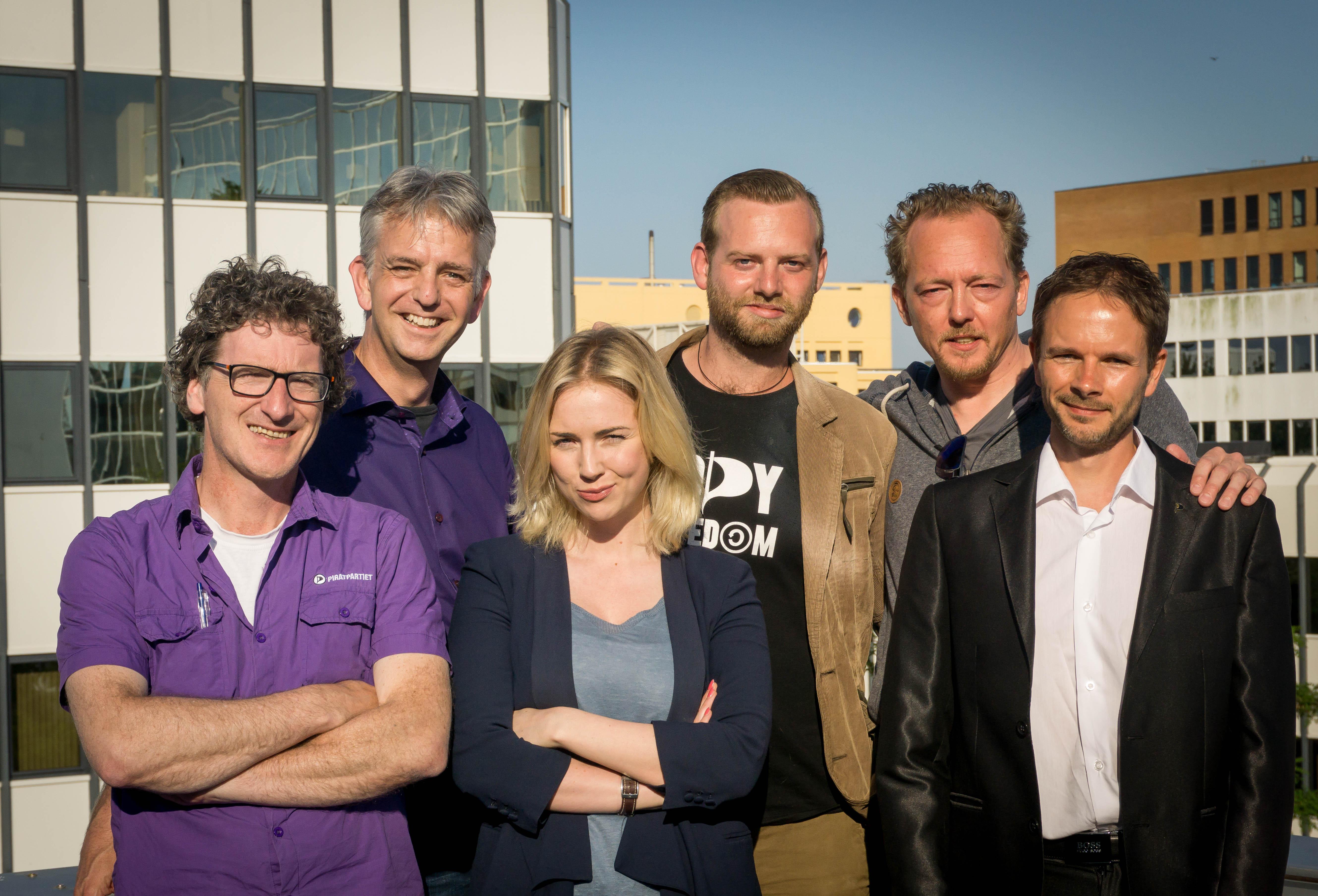 De kandidaat-lijsttrekkers (vlnr): Dirk, Rico, Ancilla, Matthijs, Bob en Janmaarten