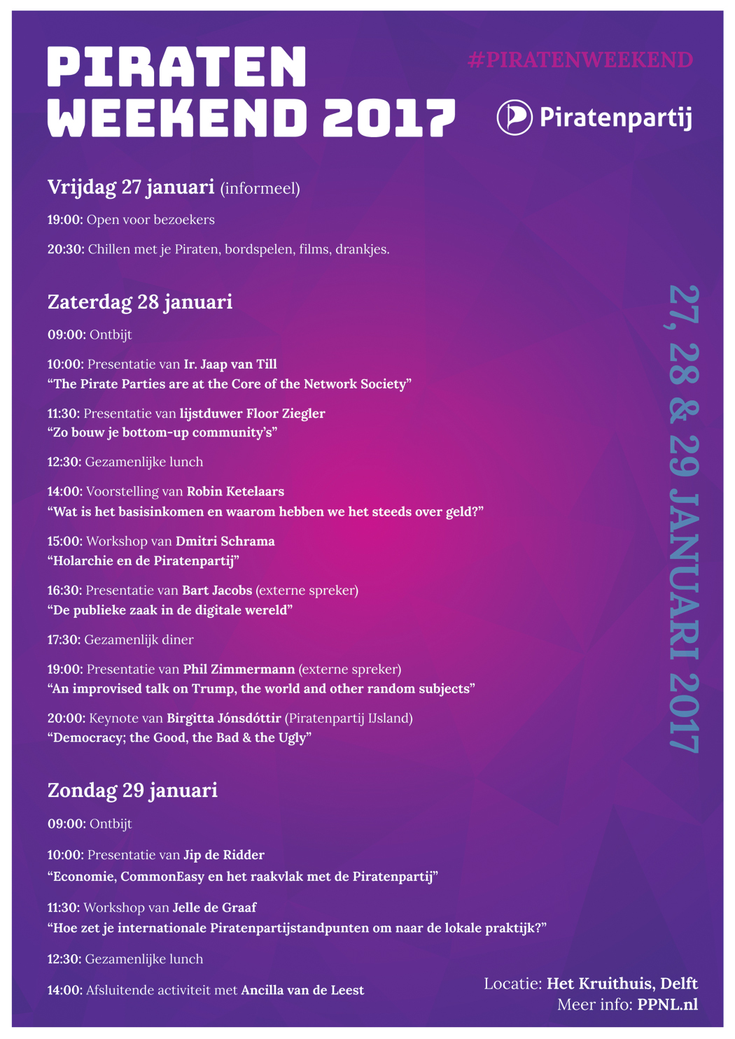 Piratenweekend 2017 - Programma flyer