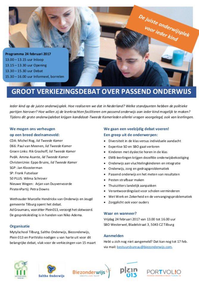 Verkiezingsdebat over passend onderwijs met Petra Downs @ SBO Westerwel | Tilburg | Noord-Brabant | Nederland