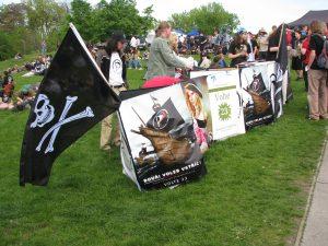 Piratenpartij Tsjechië tijdens 'Milion Marihuana March' in Praag.