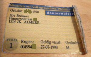Donorregistratie Rico Brouwer